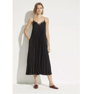 Vince Lace Trim Pleated Satin Dress